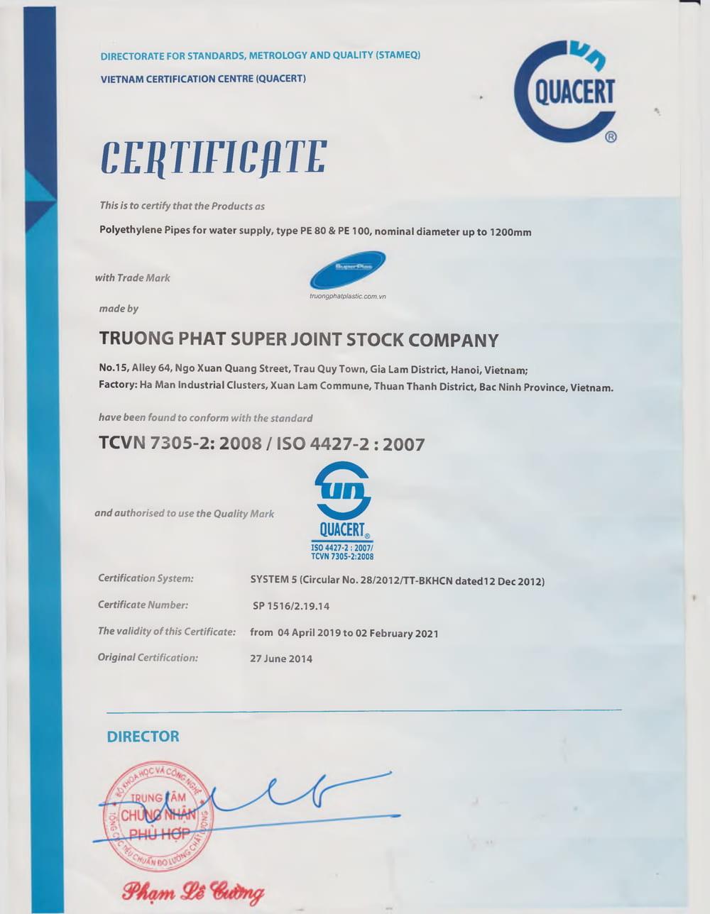 Giấy chứng nhận tiêu chuẩn Việt Nam TCVN 7305-2:2008 / ISO 4427-2:2007