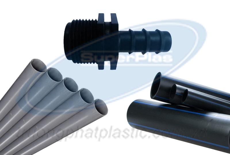 Nối ống HDPE và ống PVC bằng phụ kiện ren.